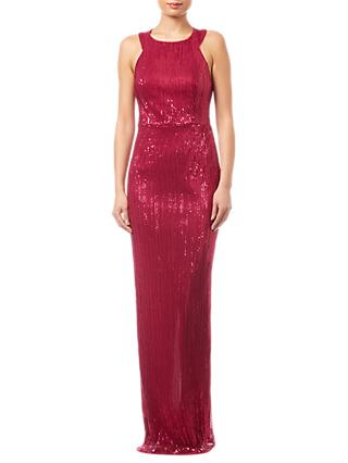Adrianna Papell Pleated Sequin Dress, Red Plum