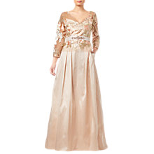 Buy Adrianna Papell Taffeta Dress, Pale Peach/Multi Online at johnlewis.com