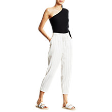 Buy Mint Velvet Stripe Paperbag Trousers, White Online at johnlewis.com