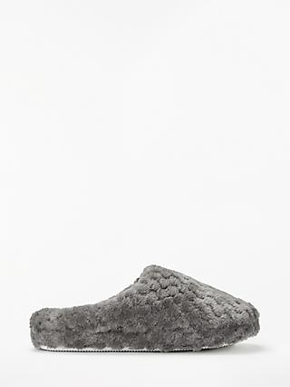 John Lewis & Partners Waffle Mule Slippers, Mid Grey
