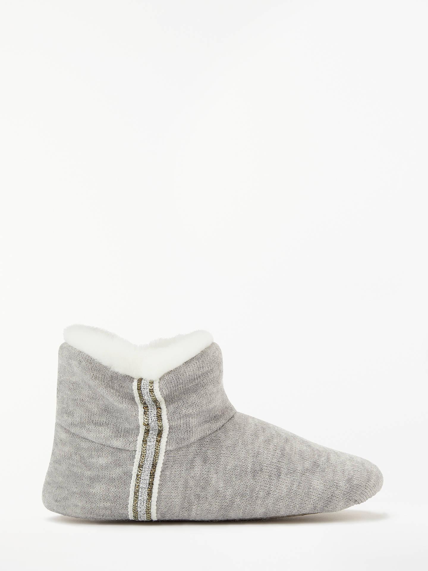 2021d83d46b John Lewis & Partners Fine Knit Sequin Boot Slippers, Grey at John ...