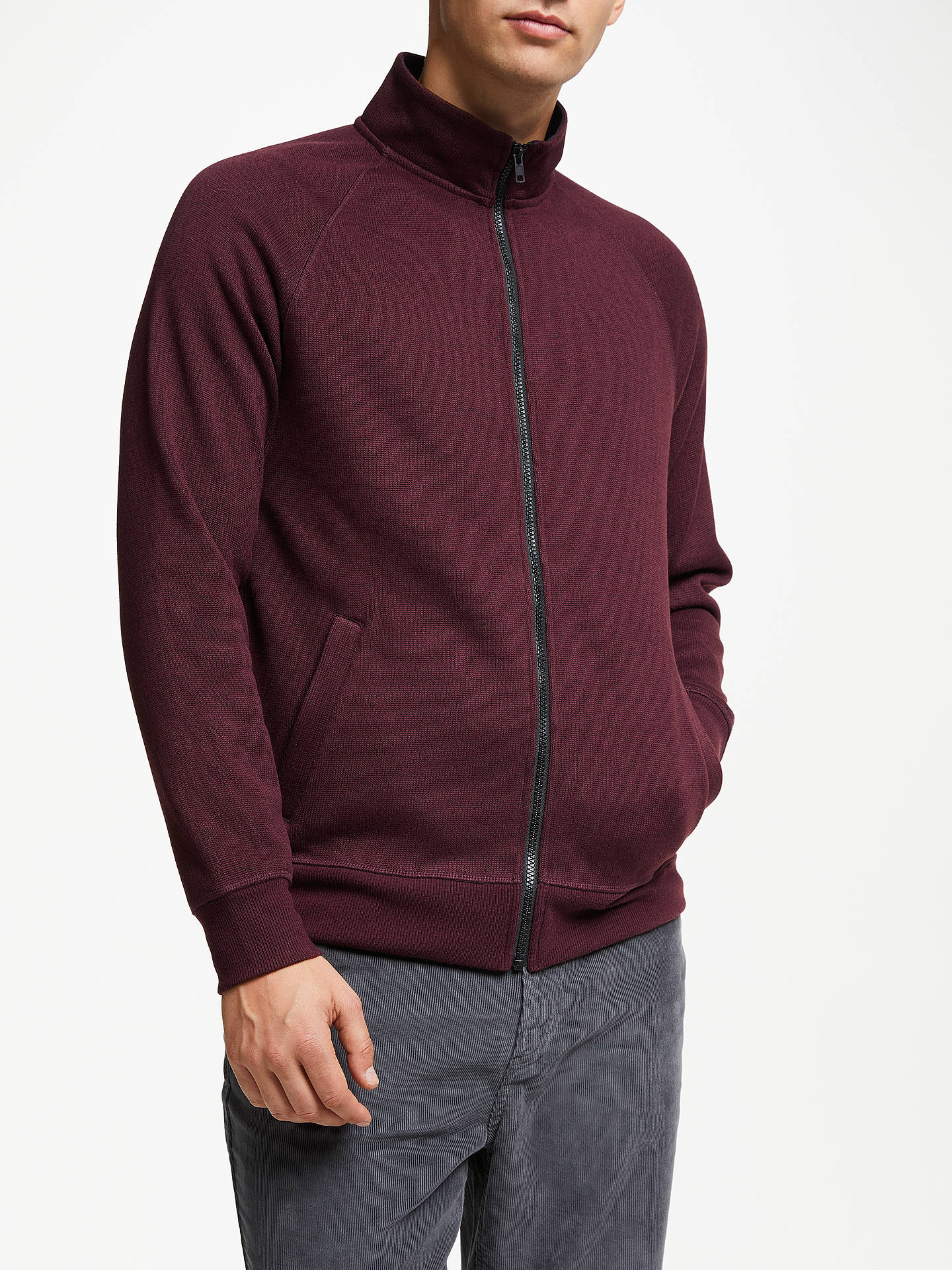 Buy John Lewis & Partners Funnel Neck Fleece Jacket, Burgundy, S Online at johnlewis.com