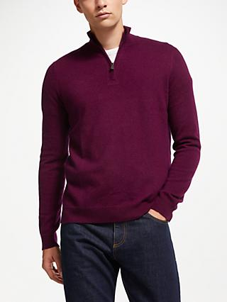 John Lewis & Partners Cashmere Zip Neck Jumper