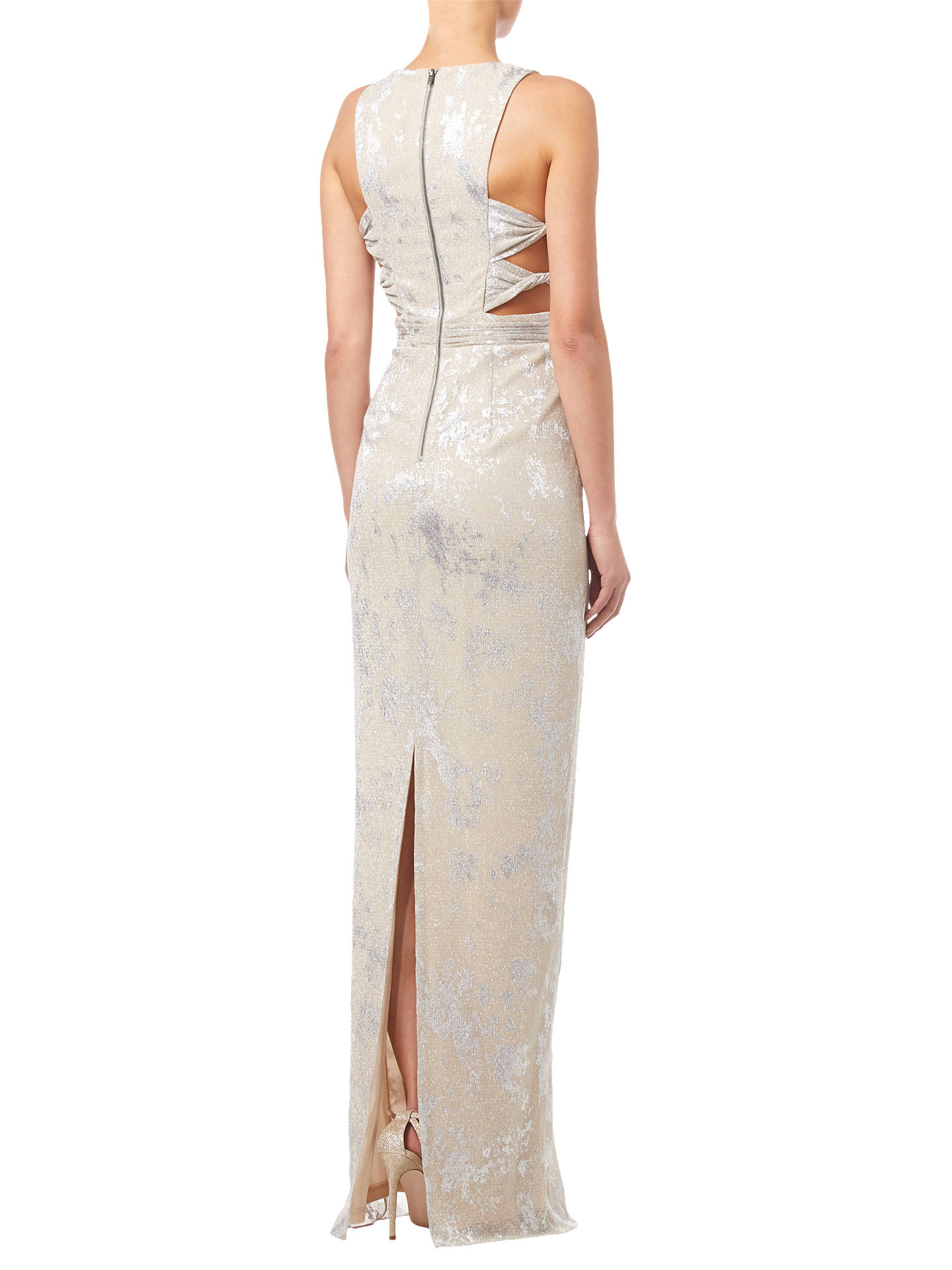 BuyAdrianna Papell Halterneck Long Dress, Champagne, 8 Online at johnlewis.com
