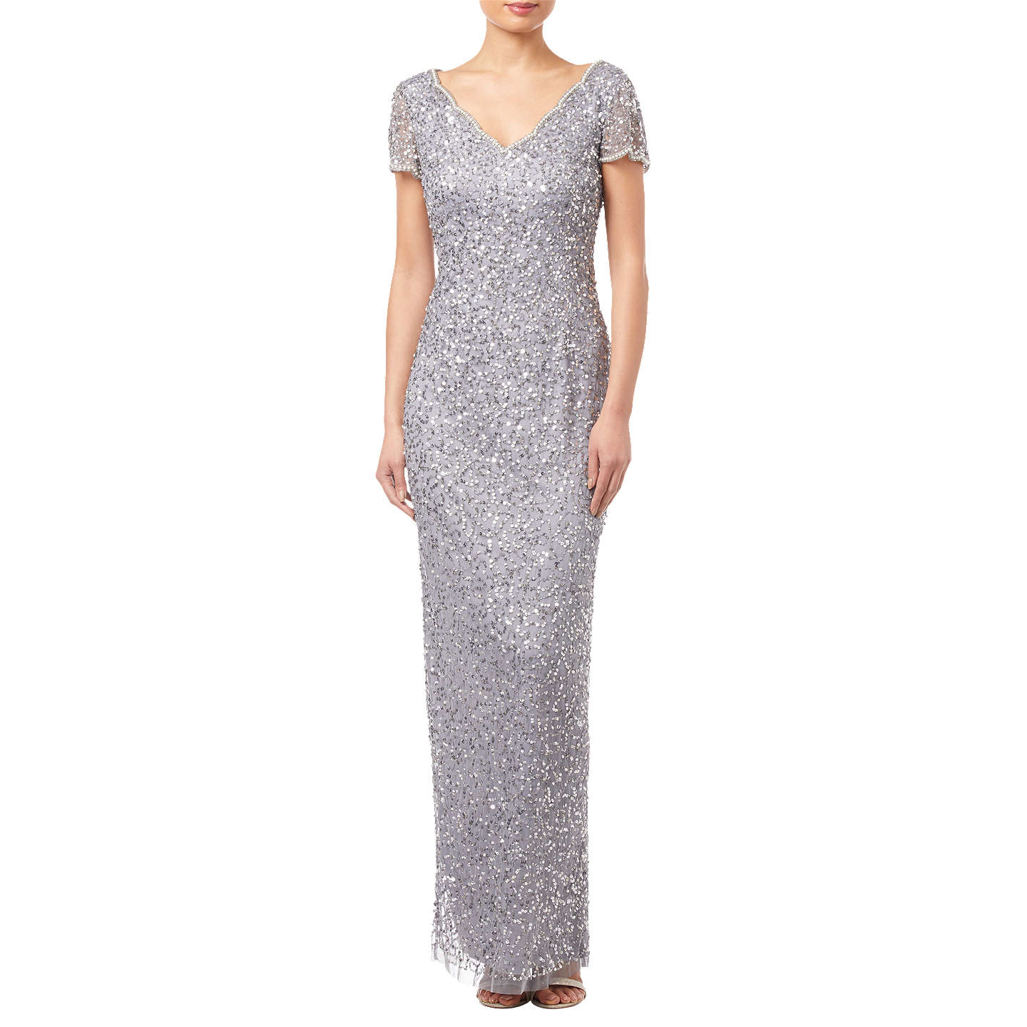Adrianna Papell Petite Scallop Dress, Silver Grey by Adrianna Papell