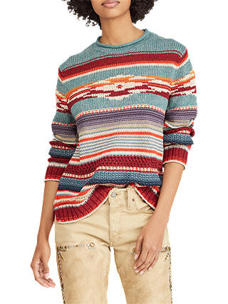 Buy Polo Ralph Lauren Patterned Jumper, Teal/Multi, XS Online at johnlewis.com