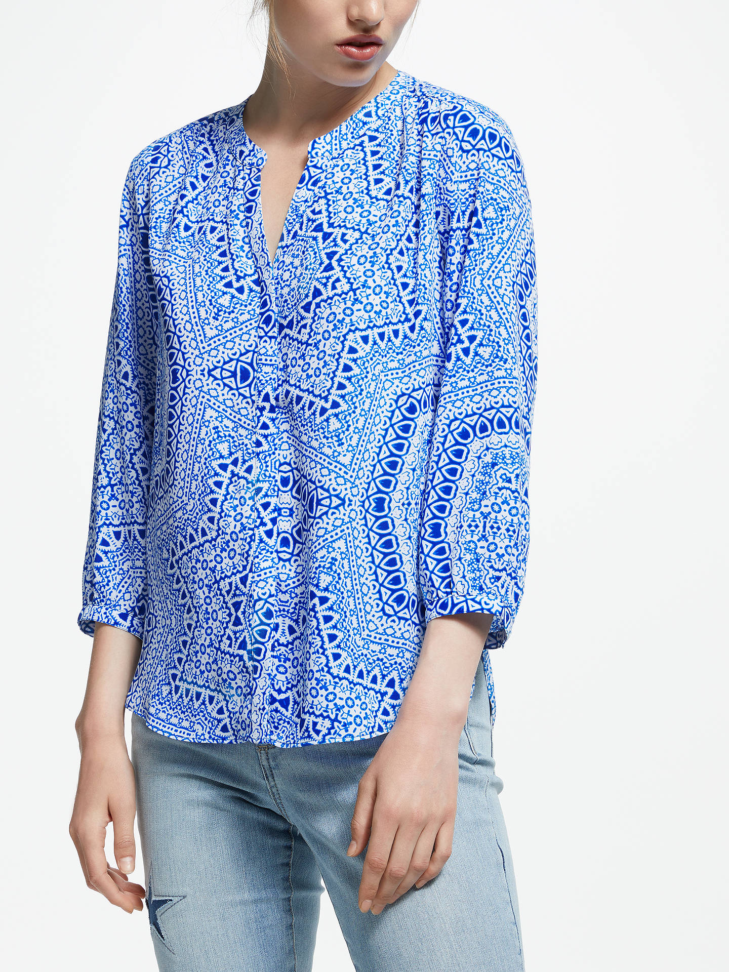 d673c156463c4c Buy NYDJ Pin Tuck Blouse, Celestial Sky Wave, S Online at johnlewis.com ...