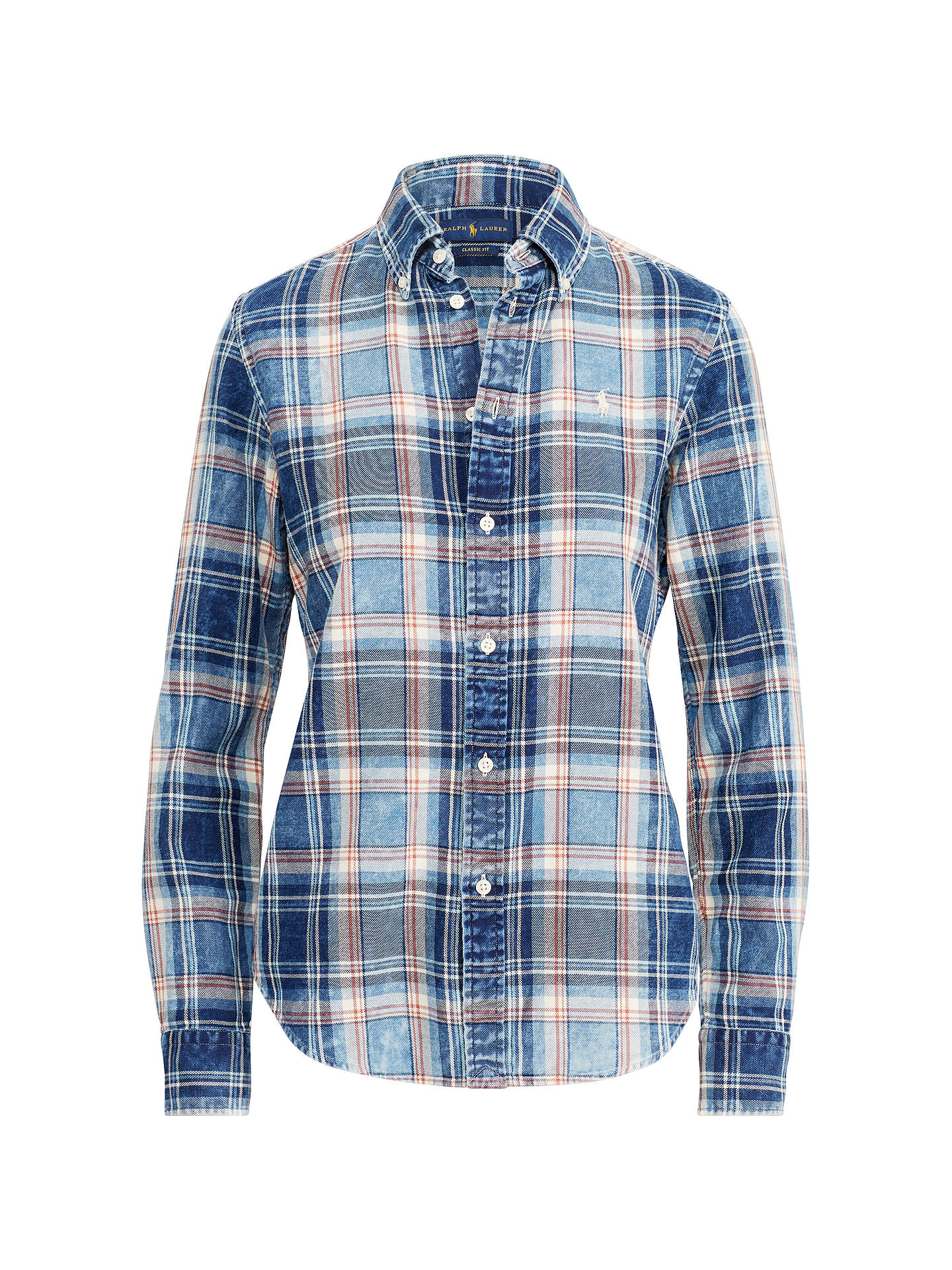 Buy Polo Ralph Lauren Georgia Check Shirt, Blue, XS Online at johnlewis.com