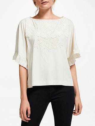 Buy Polo Ralph Lauren Lace Trim Top, Antique Cream, XS Online at johnlewis.com