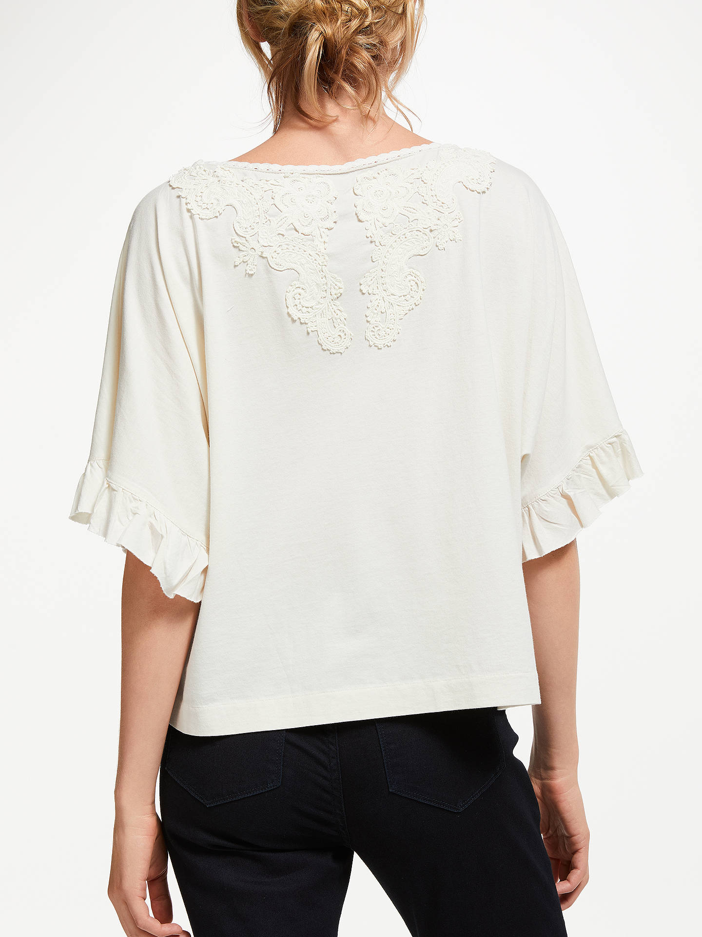 BuyPolo Ralph Lauren Lace Trim Top, Antique Cream, M Online at johnlewis.com