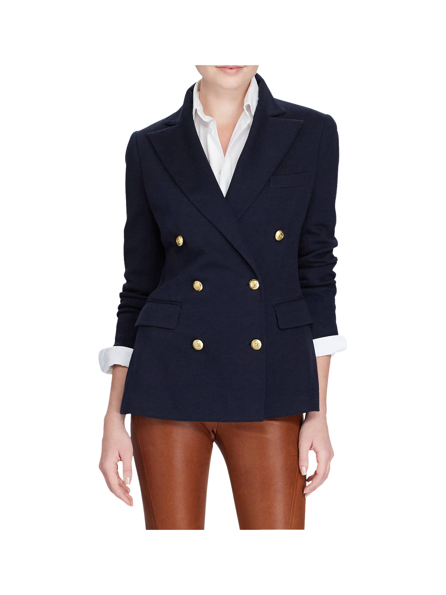 BuyPolo Ralph Lauren Knit Double Breasted Blazer, Park Avenue Navy, 8 Online at johnlewis.com