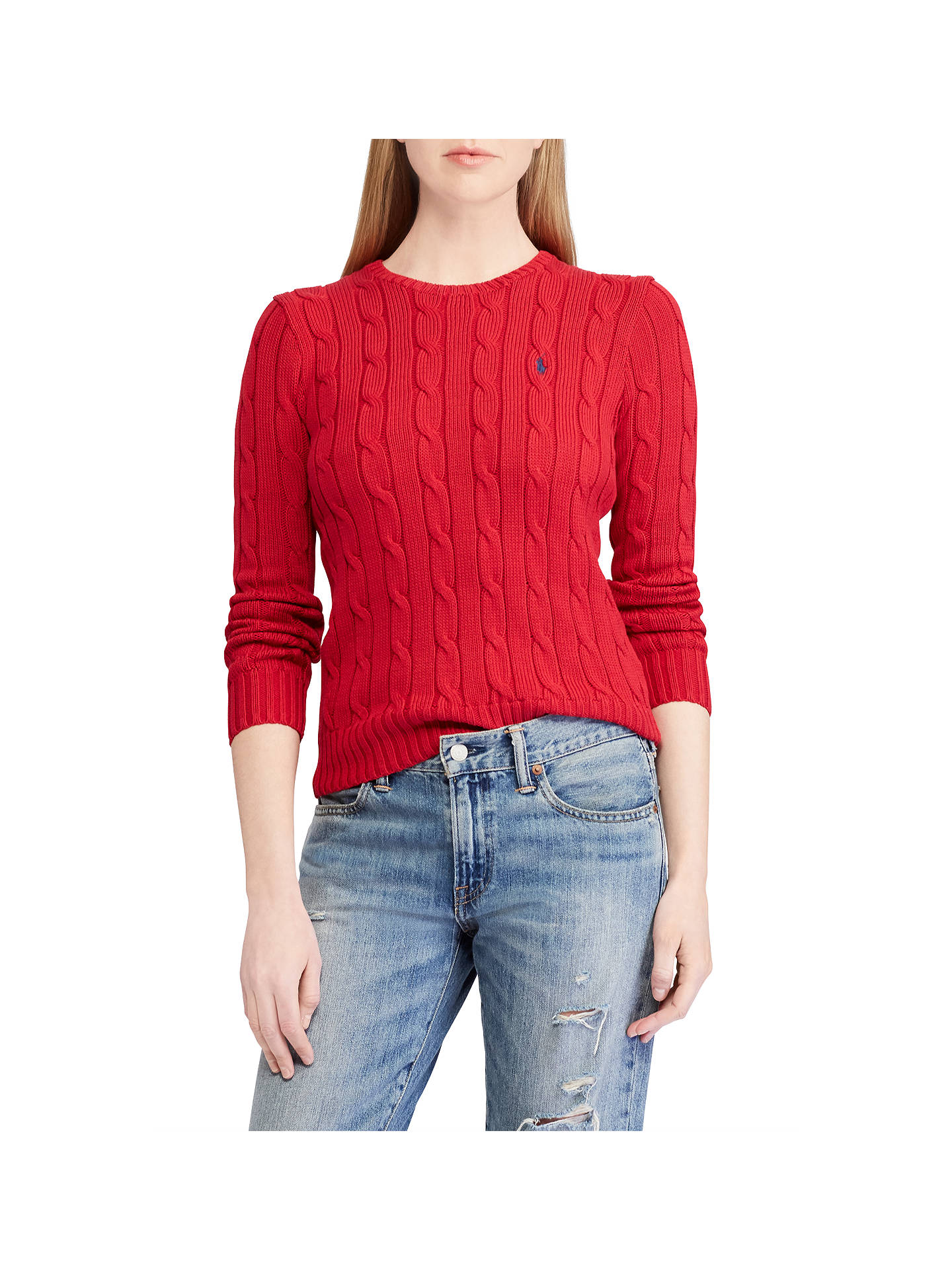 BuyPolo Ralph Lauren Julianna Cable Knit Cotton Jumper, Red, XS Online at johnlewis.com