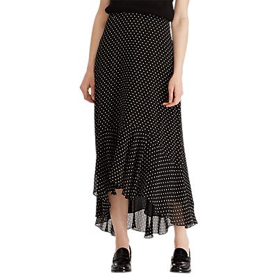 Lauren Ralph Lauren Kya Square Dot Ruffle Skirt, Black