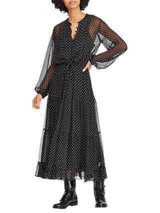 Buy Polo Ralph Lauren Square Dot Print Silk Dress, Black, 8 Online at johnlewis.com