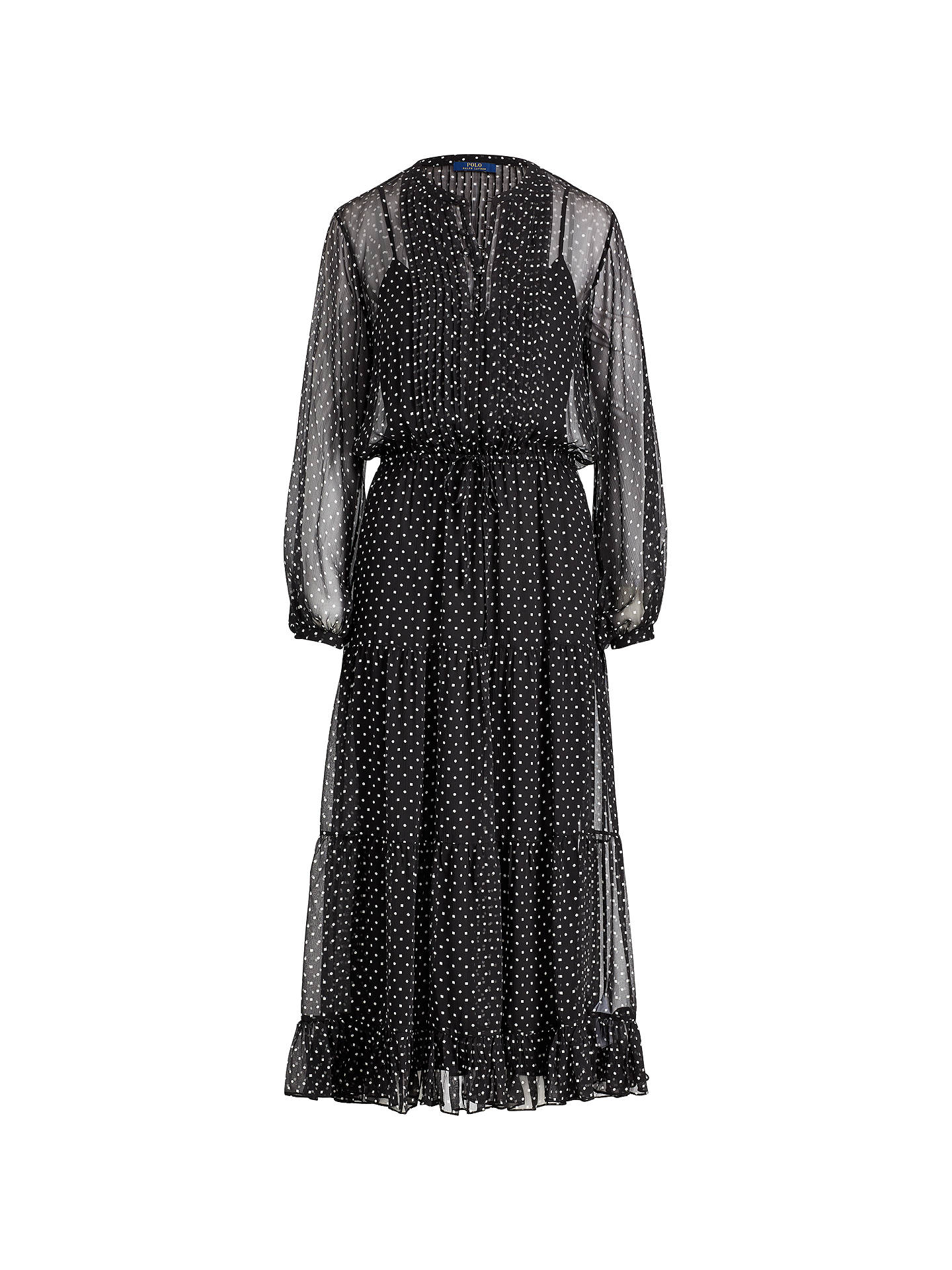 BuyPolo Ralph Lauren Square Dot Print Silk Dress, Black, 8 Online at johnlewis.com