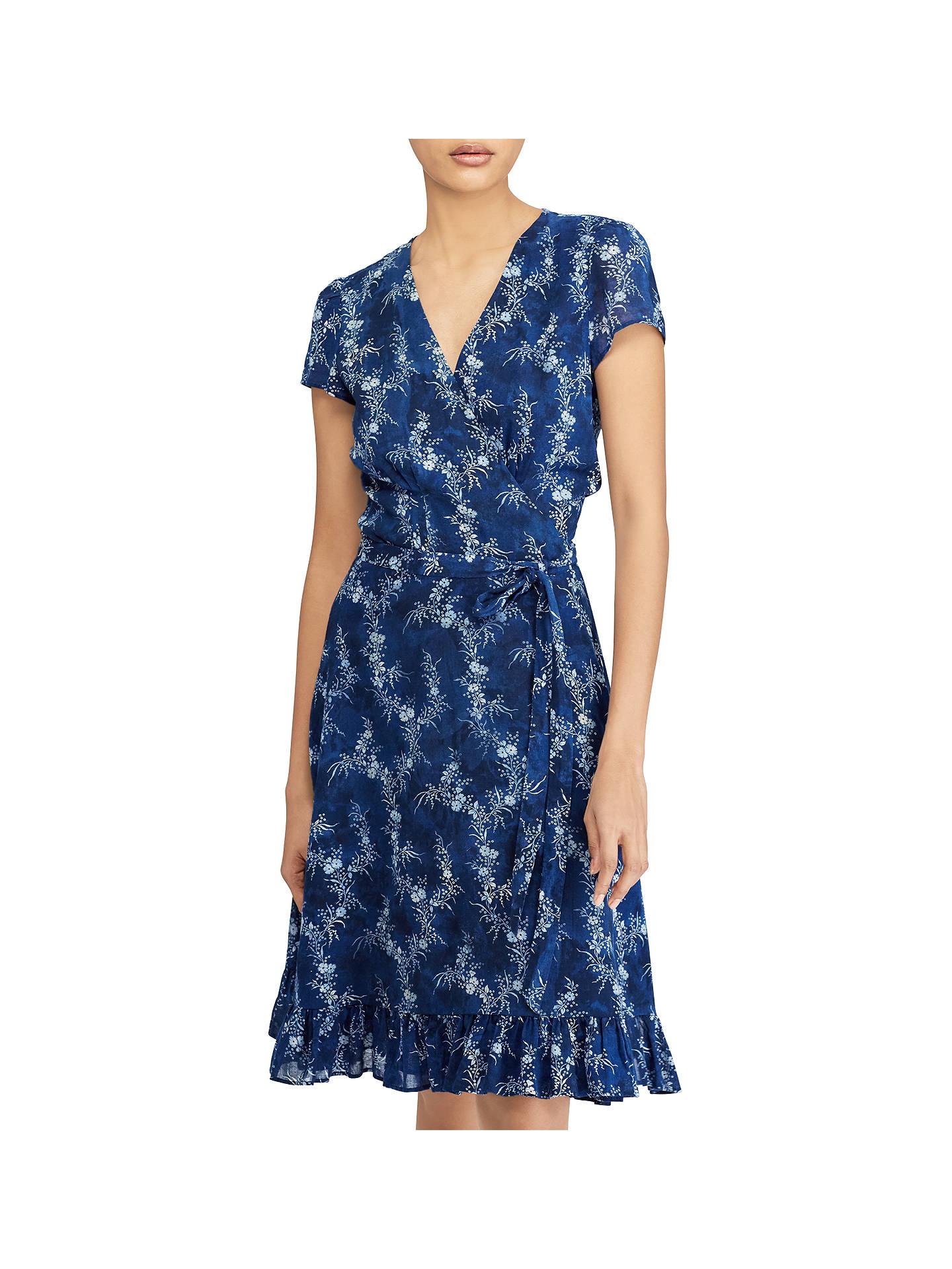 Polo Ralph Lauren Floral Print Gauze Wrap Dress Sun Fade Floral At