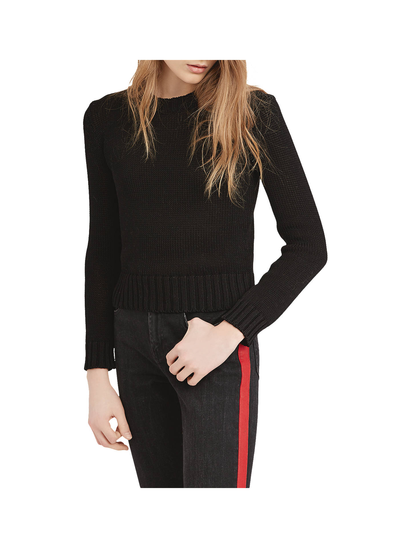 Buy Polo Ralph Lauren Cropped Cotton Jumper, Black, XS Online at johnlewis.com