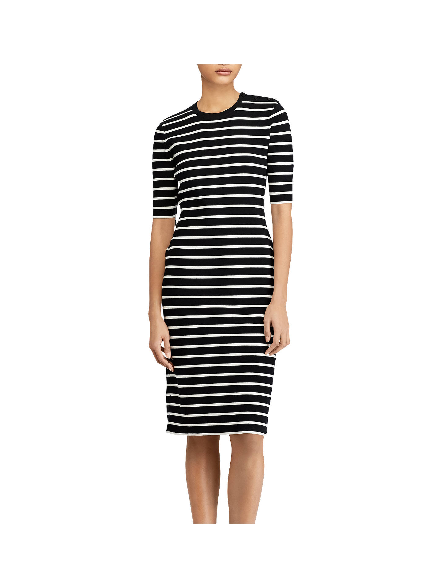 Buy Polo Ralph Lauren Stripe Sweater Dress, Black/Cream, XS Online at johnlewis.com