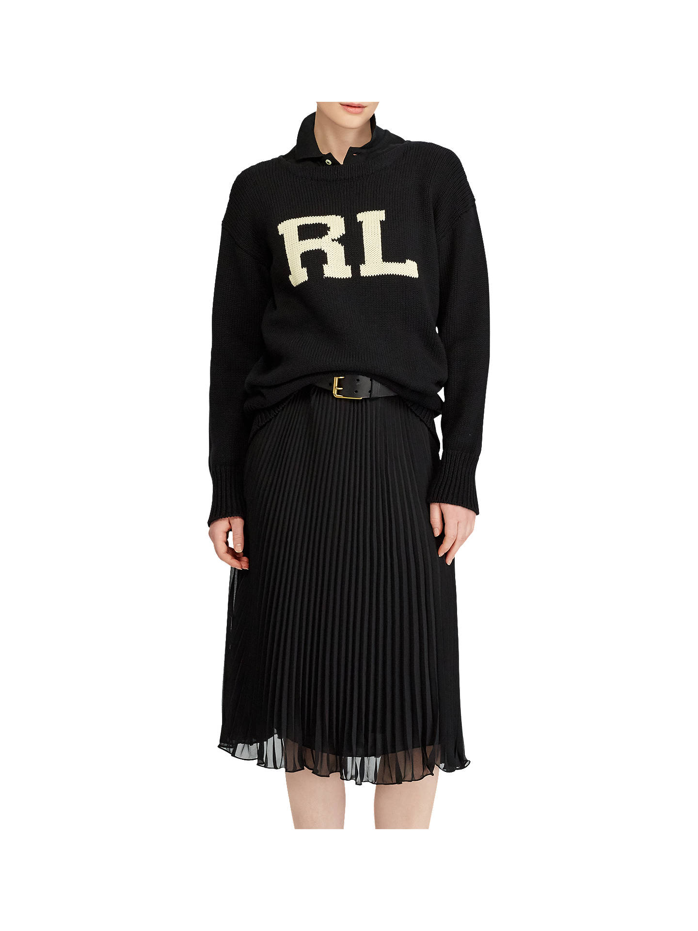 BuyPolo Ralph Lauren Intarsia Jumper, Black/Cream, XS Online at johnlewis.com