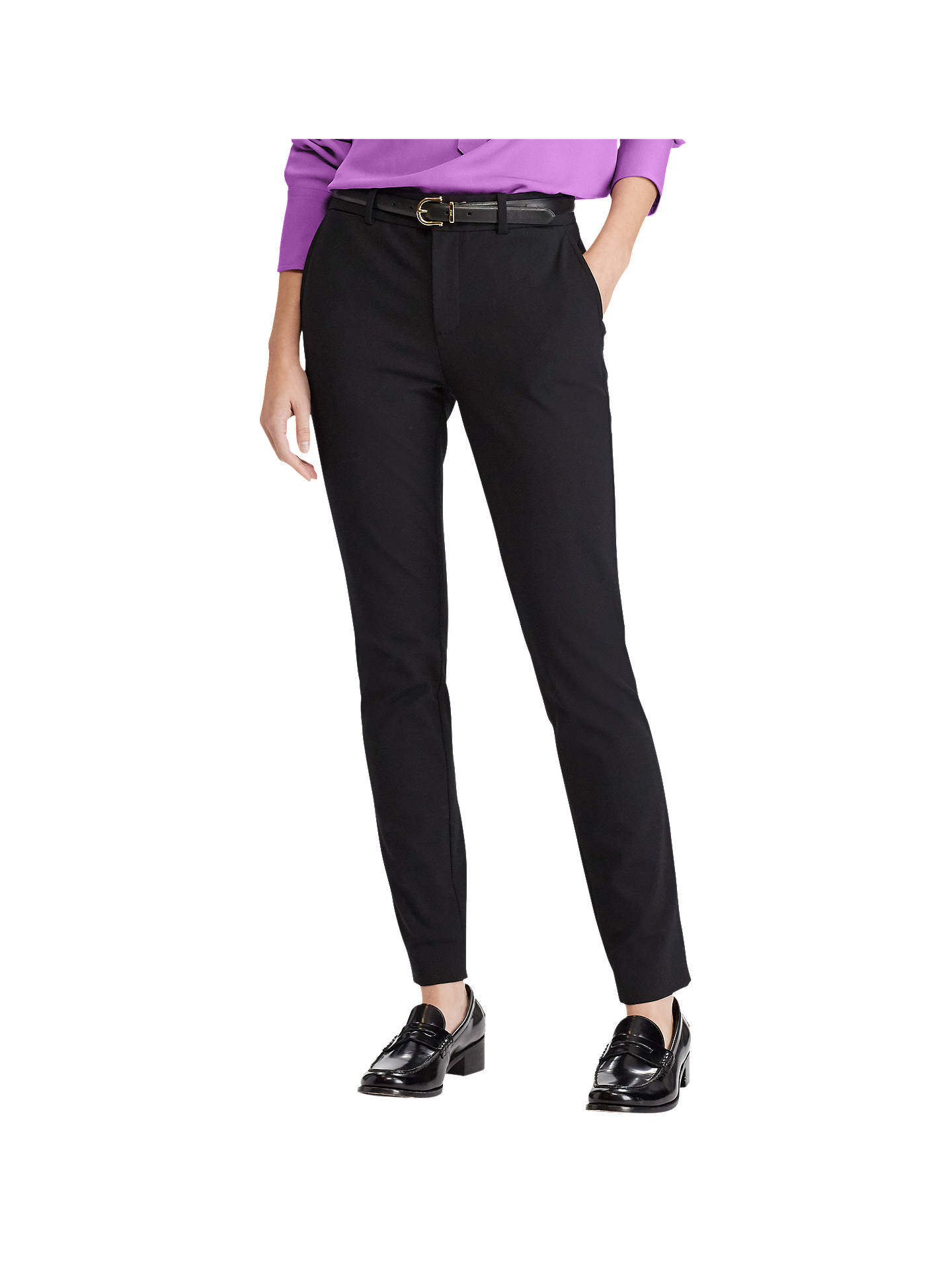 BuyPolo Ralph Lauren High Rise Twill Straight Trousers, Polo Black, 8 Online at johnlewis.com
