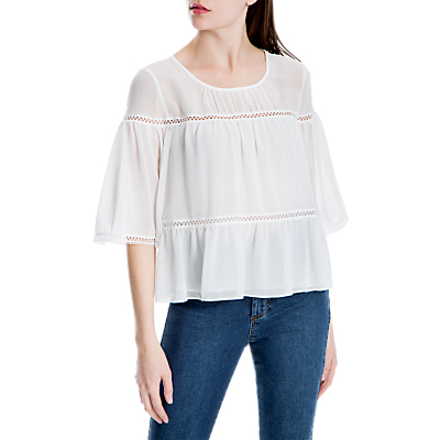 Max Studio Bell Sleeve Tiered Top, White