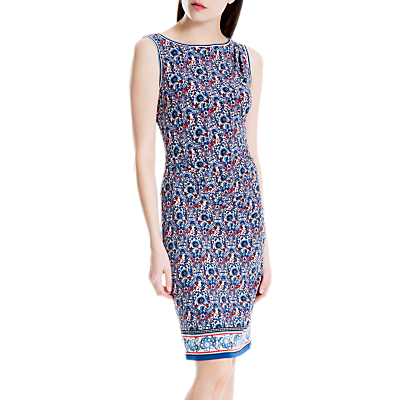 Max Studio Sleeveless Side Ruched Print Dress, Blue/Red