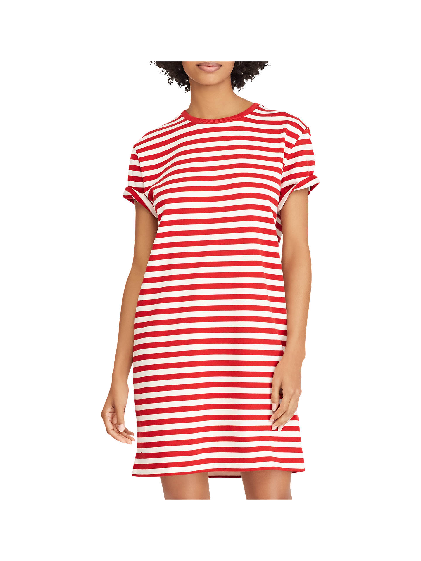 BuyPolo Ralph Lauren Striped T-Shirt Dress, Red/Deckwash, XS Online at johnlewis.com