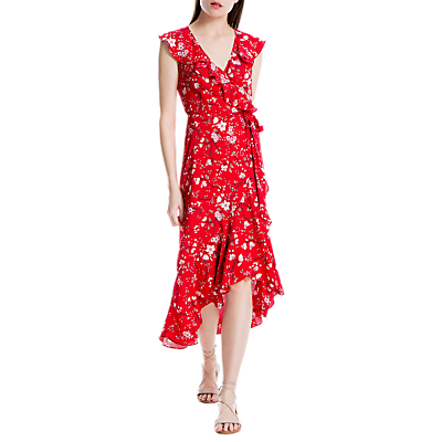 Max Studio Sleeveless Floral Print Wrap Dress, Red