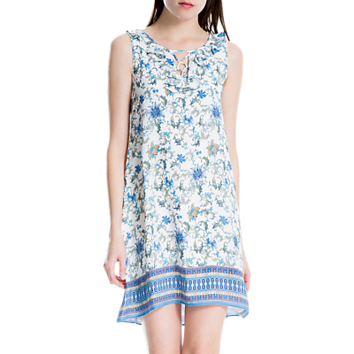 Max Studio Floral Printed Dress, Ivory/Chambray