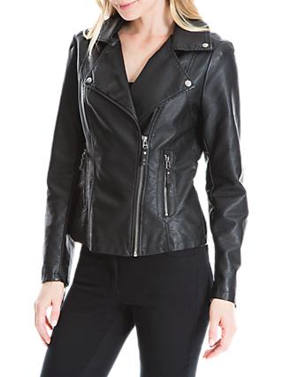 Max Studio Leatherette Biker Jacket, Black