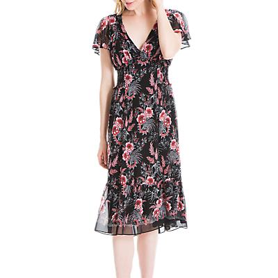 Max Studio Flora Print Ruffle Sleeve Dress, Black/Multi