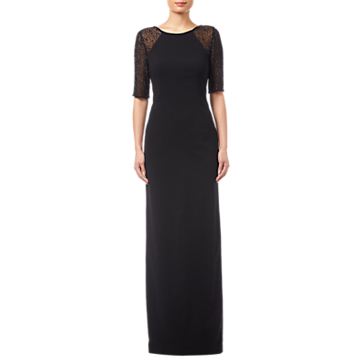 Adrianna Papell Beaded Long Dress, Black