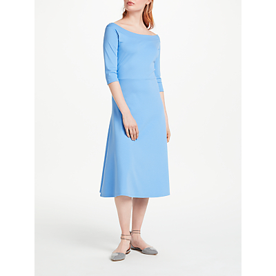Finery Dudlington Off Shoulder Jersey Dress, Cornflower Blue