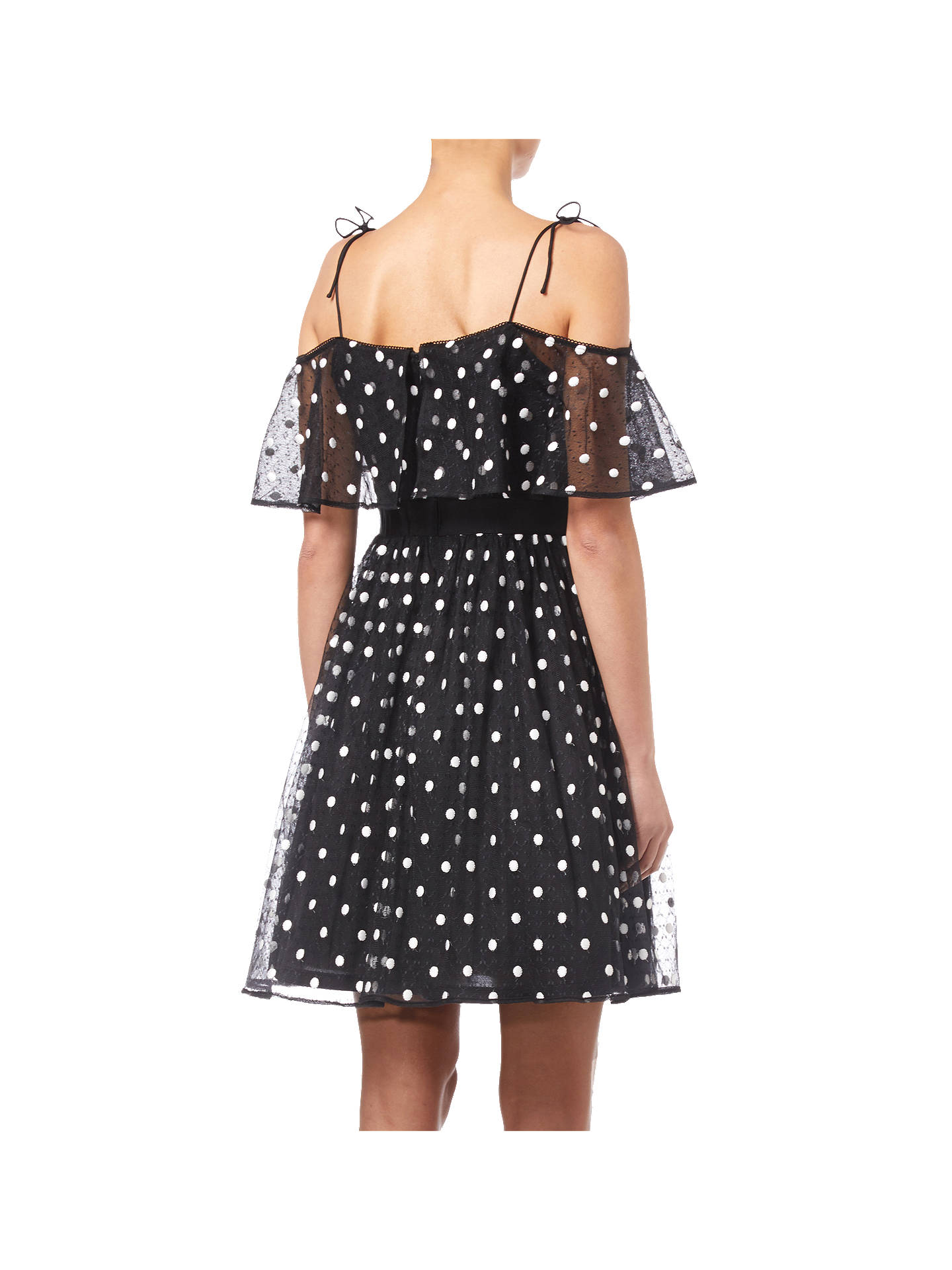 BuyAdrianna Papell Spot Pleated Tulle Dress, Black/White, 8 Online at johnlewis.com