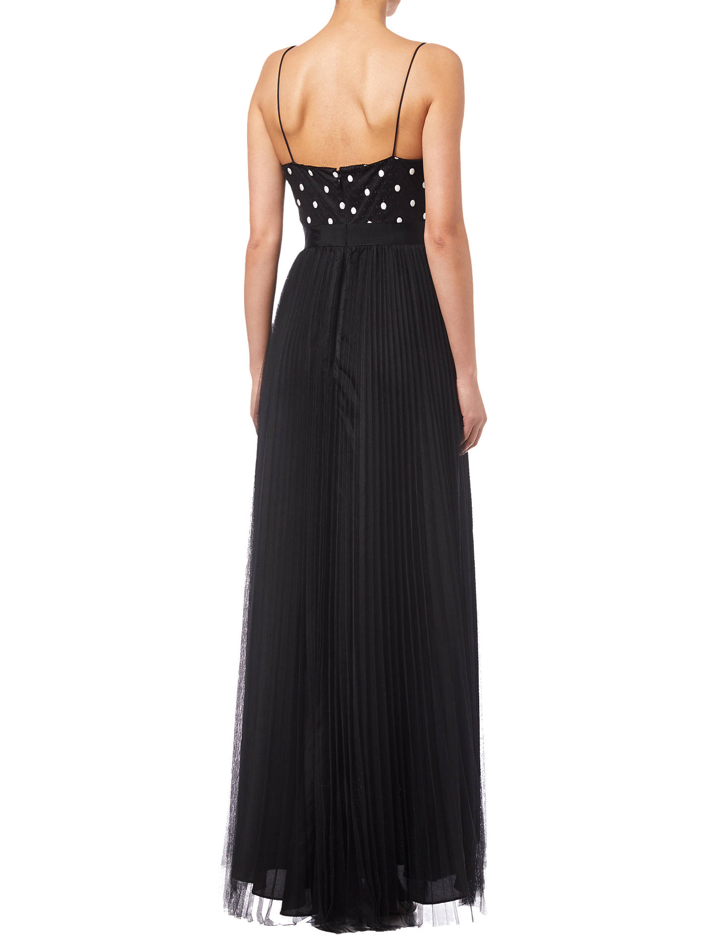 Buy Adrianna Papell Pleated Tulle Dress, Black/White, 14 Online at johnlewis.com