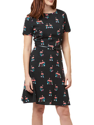 Buy Sugarhill Brighton Ohara Flamingo Print Dress, Black, 12 Online at johnlewis.com