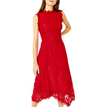Buy Warehouse Sleeveless Lace Midi Dress, Bright Red Online at johnlewis.com