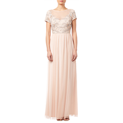 Adrianna Papell Beaded Mesh Long Dress, Blush