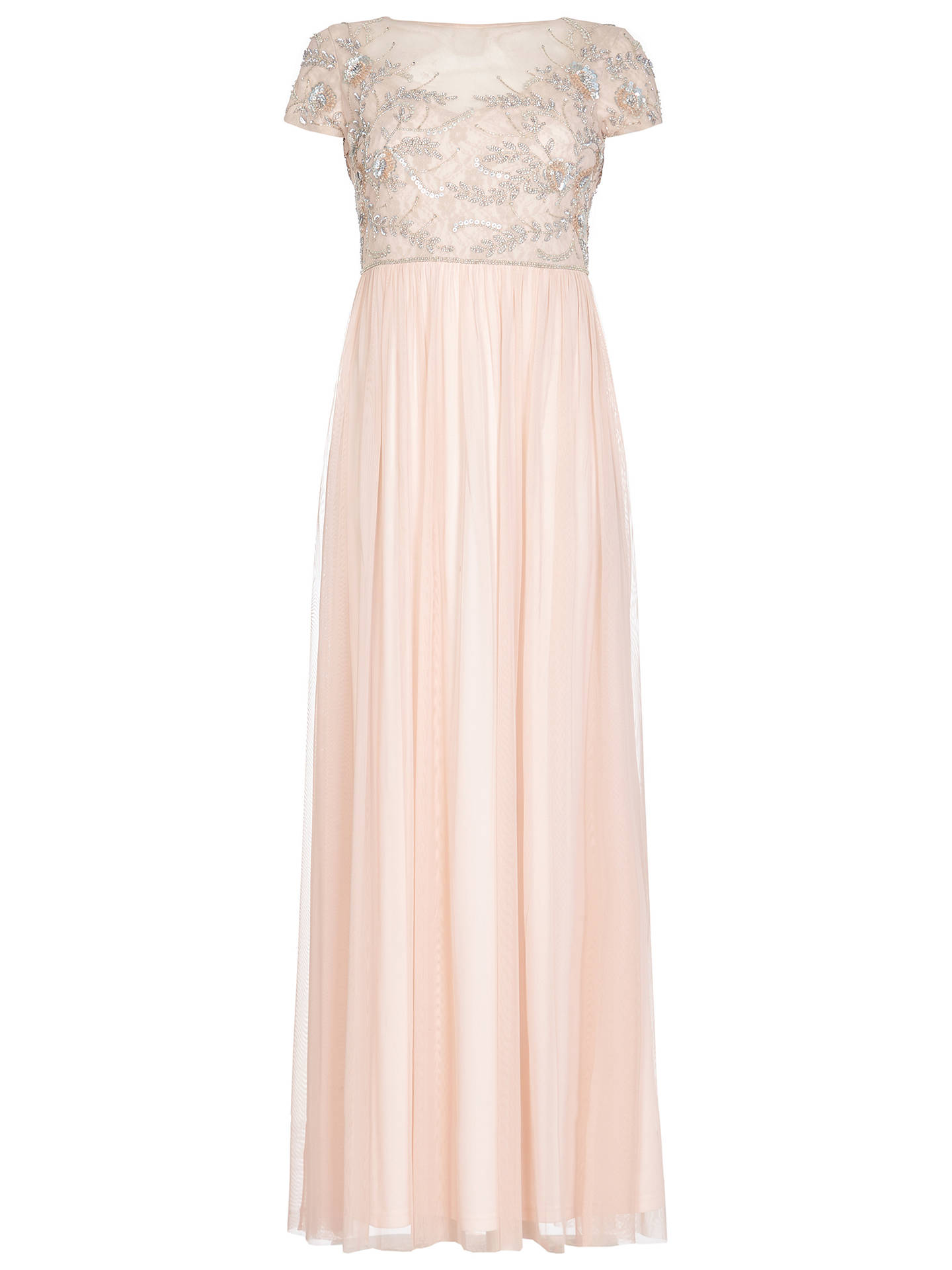 Buy Adrianna Papell Beaded Mesh Long Dress, Blush, 8 Online at johnlewis.com