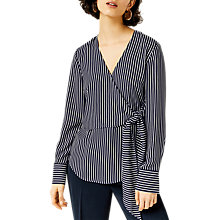 Buy Warehouse Stripe Wrap Front Tie Top, Navy/Cream Online at johnlewis.com