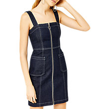 Buy Warehouse Zip Front Bodycon Dress, Dark Wash Denim Online at johnlewis.com