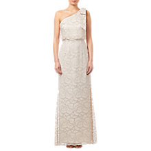 Buy Adrianna Papell Lace Long Dress, Champagne Online at johnlewis.com