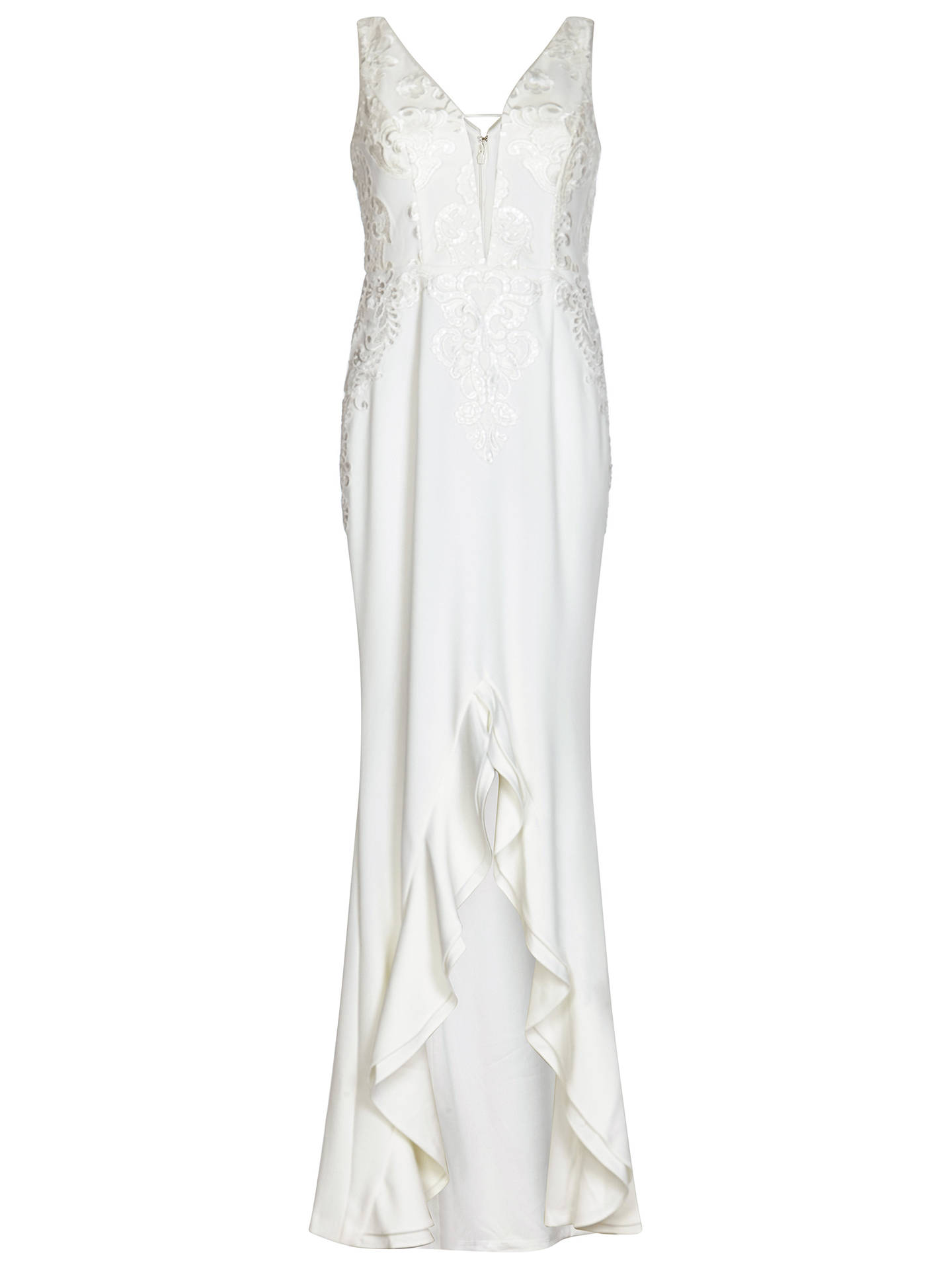 BuyAdrianna Papell Embroidered Gown, Ivory, 10 Online at johnlewis.com