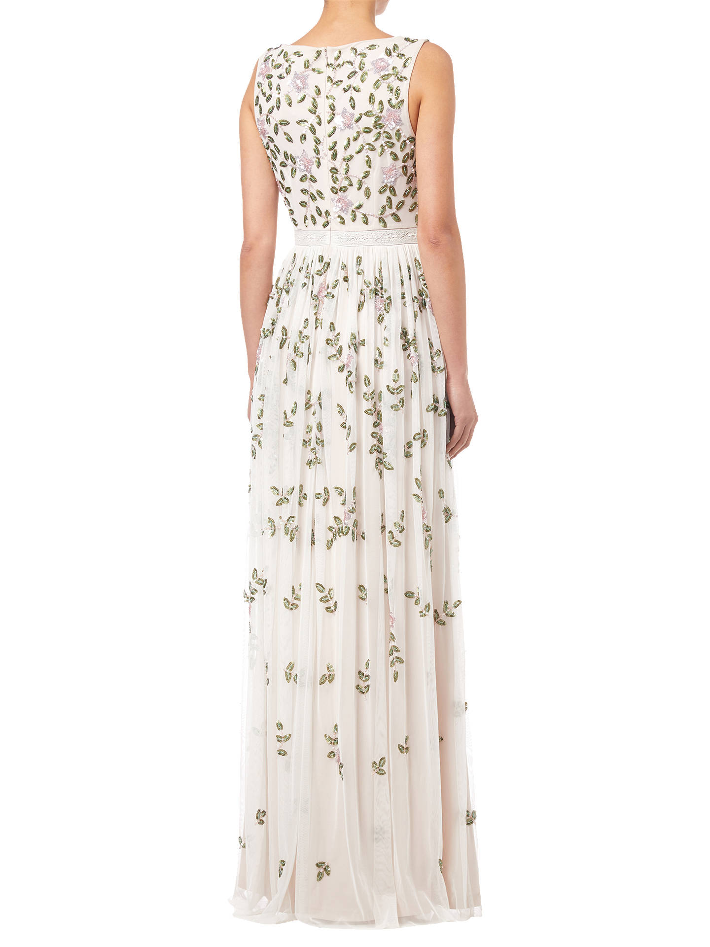 Buy Adrianna Papell Beaded Long Dress, Ivory, 8 Online at johnlewis.com