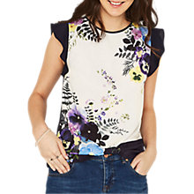 Buy Oasis Kaya Frill Sleeve Trim Top, Multi Online at johnlewis.com