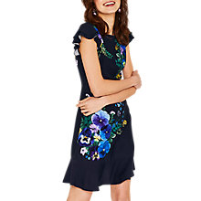 Buy Oasis Pressed Flower Skater Dress, Blue/Multi Online at johnlewis.com