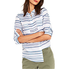 Buy Oasis Variegated Stripe Shirt, Multi Blue Online at johnlewis.com