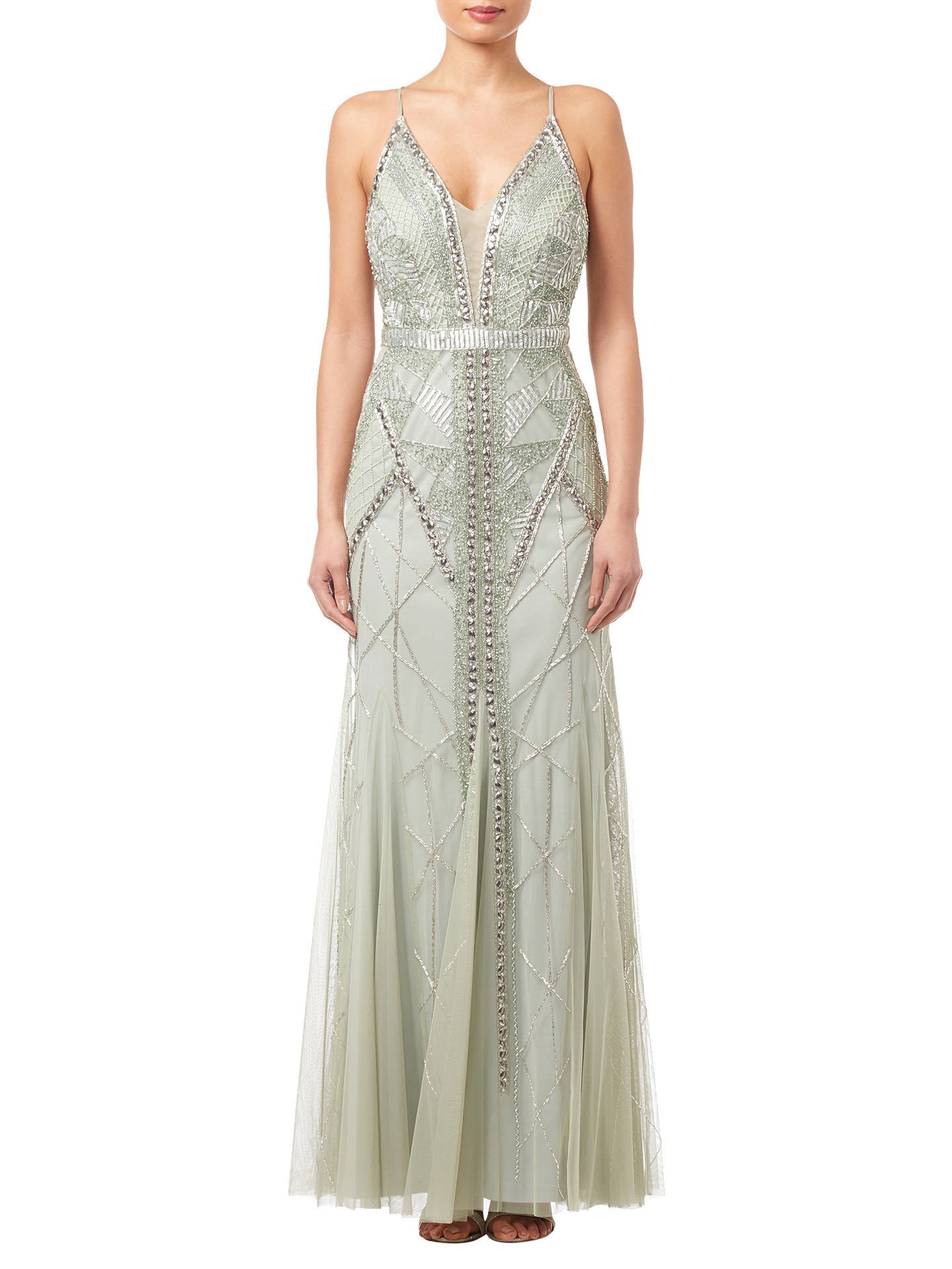 Buy Adrianna Papell Beaded Long Dress, Mint, 6 Online at johnlewis.com