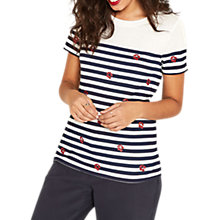 Buy Oasis Cherry Stripe T-Shirt, Multi Red Online at johnlewis.com