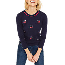 Buy Oasis Cherry Embellished Knit Jumper, Navy Online at johnlewis.com